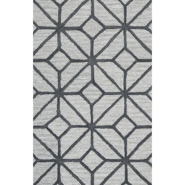 Hand Tufted Luniccia Grey Wool Geometric Runner Rug 2 6 X 8 2 6 X 8 On Sale Overstock 14724135