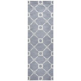 "Hand-Tufted Luniccia light Blue Wool print Runner Area Rug (2'6"" x 8') - 2'6"" x 8'"