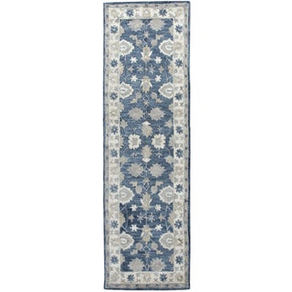 "Hand-Tufted Leone Blue Wool Traditional Motifs Runner Area Rug (2'6"" x 8')"