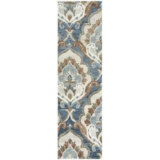 "Hand-Tufted Leone Blue Wool Medallion Runner Area Rug (2'6"" x 8')"