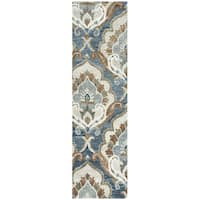 Hand-tufted Leone Blue Wool Medallion Runner Rug (2'6 x 8')