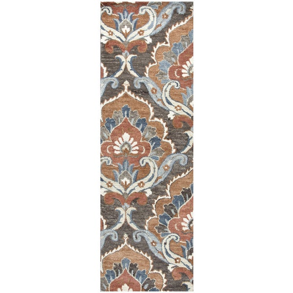 "Hand-Tufted Leone Brown Wool Medallion Runner Area Rug (2'6"" x 8')"