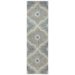 "Hand-Tufted Leone Gray Wool Medallion Runner Area Rug (2'6"" x 8')"