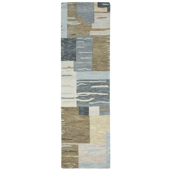 "Hand-Tufted Leone Neutral Wool Block Runner Area Rug (2'6"" x 8')"
