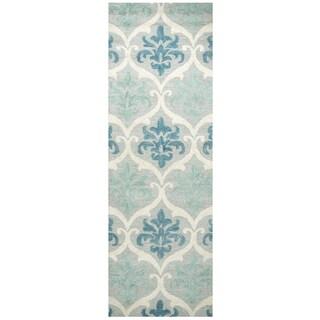 Hand-tufted Lancaster Blue/ Aqua Wool Trellis Runner Rug (2'6 x 8')