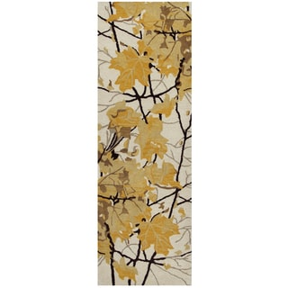 """Hand-Tufted Highland Gold Wool nature Runner Area Rug (2'6"""" x 8')"""