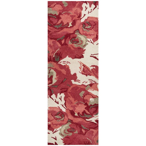 "Hand-Tufted Highland red Wool Floral Runner Area Rug (2'6"" x 8')"