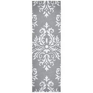 "Hand-Tufted Eden Harbor Heayher Gray Wool & Viscose Ornamental Area Rug (2'6"" x 8') - 2'6"" x 8'"