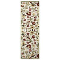 Hand-tufted Dimensions Khaki Wool Floral Runner Rug (2'6 x 8')