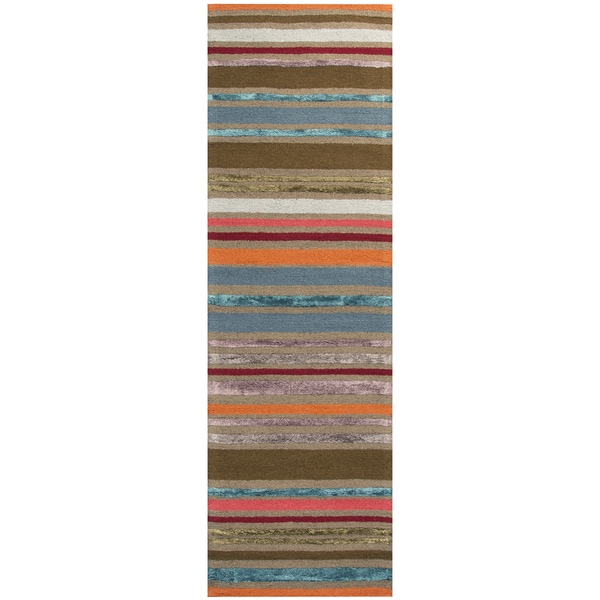 Hand-tufted Eden Harbor Multi Wool and Viscose Stripe Runner Rug (2'6 x 8')