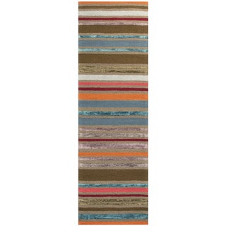 "Hand-Tufted Eden Harbor multi Wool & Viscose stripe Runner Area Rug (2'6"" x 8')"
