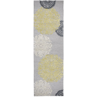 "Hand-Tufted Eden Harbor yellow Wool & Viscose medallion Runner Area Rug (2'6"" x 8')"