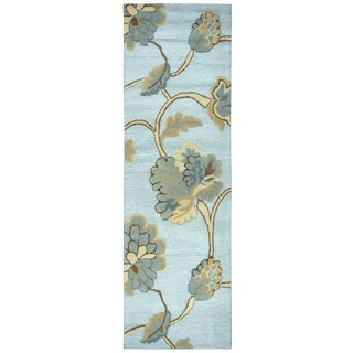 """Hand-Tufted Dimensions Blue Wool Floral Runner Area Rug (2'6"""" x 8')"""