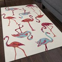 San Mateo White Flamingo Multi-purpose Indoor/Outdoor Rug (8' x 11') - 8' x 11'