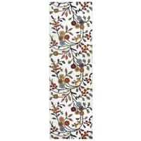 """Hand-Tufted Dimensions ivory Wool Floral Runner Area Rug (2'6"""" x 8')"""