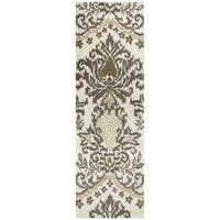 Hand-tufted Destiny Taupe/ Tan Wool Ikat Runner Rug (2'6 x 8')