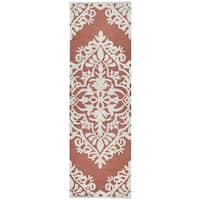"""Hand-Tufted Caterine red Wool ornamental Runner Area Rug (2'6"""" x 8')"""