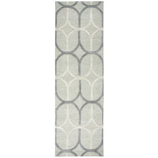 "Hand-Tufted Caterine grey Wool trellis Runner Area Rug (2'6"" x 8')"