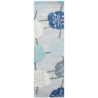 "Hand-Tufted Cabot Bay Blue Wool coastal Runner Area Rug (2'6"" x 8')"