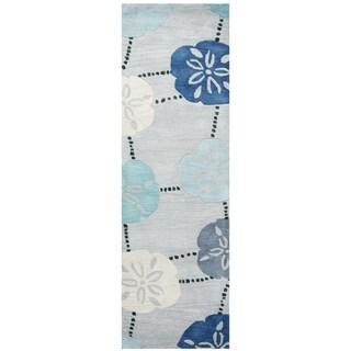 "Hand-Tufted Cabot Bay Blue Wool coastal Runner Area Rug (2'6"" x 8')"