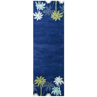 "Hand-Tufted Cabot Bay navy Wool coastal Runner Area Rug (2'6"" x 8')"
