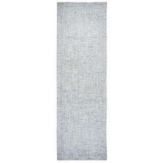 """Hand-Tufted London Blue 100% WOOL Solid Runner Area Rug (2'6"""" x 8') - 2'6"""" x 8'"""