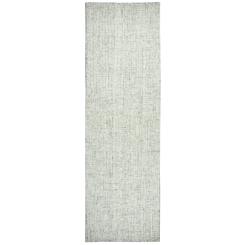 "Hand-Tufted London Green 100-percent WOOL Solid Runner Area Rug (2'6"" x 8') - 2'6"" x 8'"