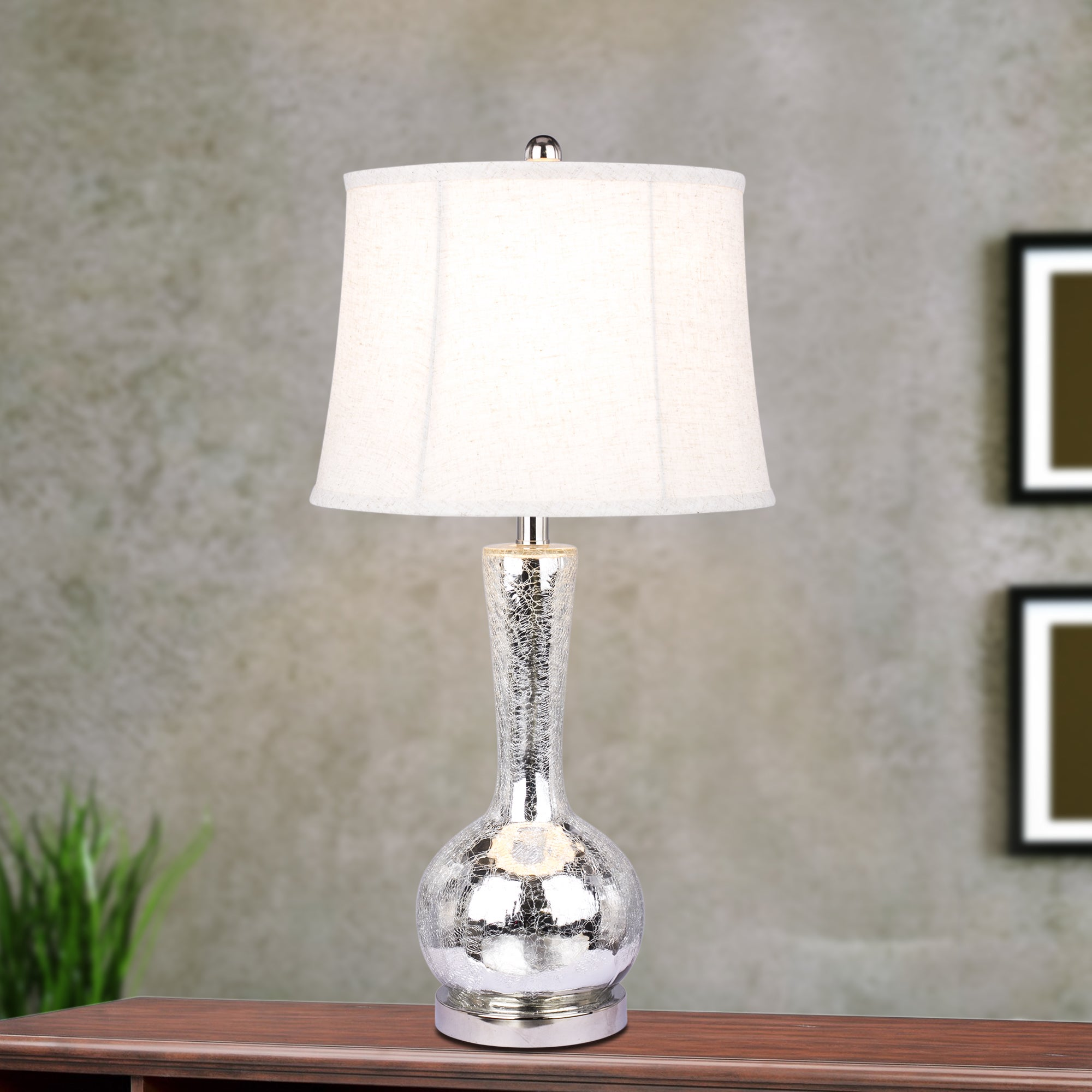 #5140 Modern 27.5 inch Silver Mercury Glass Table Lamp wi...