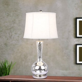 #5140 Modern 27.5 inch Silver Mercury Glass Table Lamp with Polished Nickel Metal Accents In Striking Genie Bottle Form