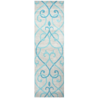 "Hand-Tufted Bradberry Downs Blue Wool trellis Runner Area Rug (2'6"" x 8')"