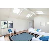 Multi-Purpose Indoor/ Outdoor San Mateo Slate Blue Rug (8'x11') - 8' x 11'