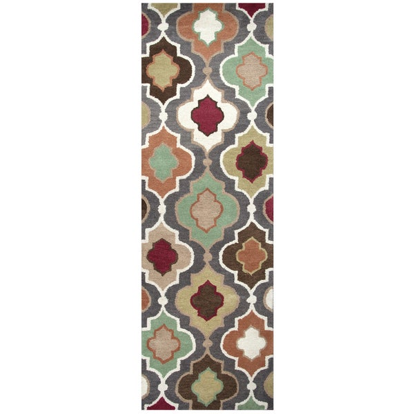 "Hand-Tufted Bradberry Downs warm grey Wool trellis Runner Area Rug (2'6"" x 8')"
