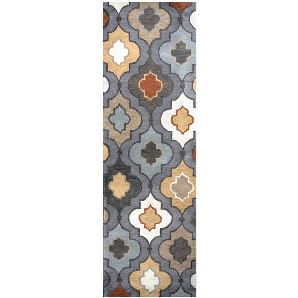 Hand-tufted Bradberry Downs Blue Grey Wool Trellis Runner Rug (2'6 x 8')