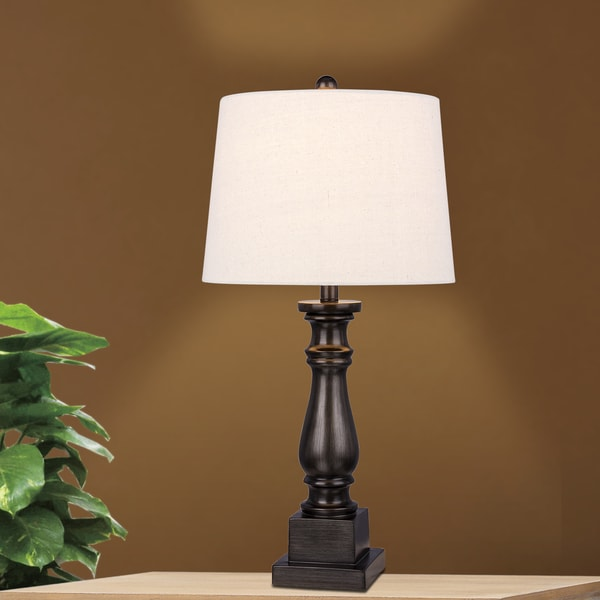 Traditional 28-inch Antique Grey Resin Column Table Lamp
