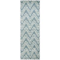 Hand-Tufted Bradberry Downs Blue Wool Chevron Runner Area Rug - 2'6 x 8'