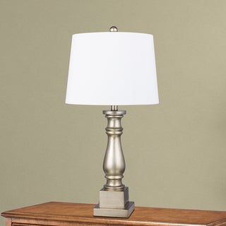#6220CG Traditional 28 inch Champagne Gold Resin Column Table Lamp