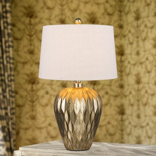 29.5-inch Gold Resin Table Lamp with Paper Lantern Fold Effect