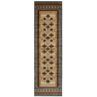 Bellevue tan/ ivory/ brown southwest/ tribal Runner Area Rug (2'3 x 7'7)