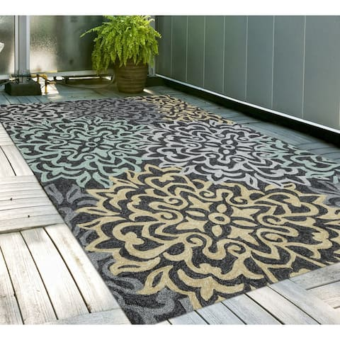 San Mateo Charcoal Multipurpose Indoor/Outdoor Rug (7'6 x 9'6) - 8' x 10'/Surplus - 8' x 10'/Surplus