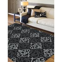 San Mateo Checker Black/ Grey Multi-purpose Indoor/ Outdoor Rug (7'6 x 9'6) - 7'6 x 9'6