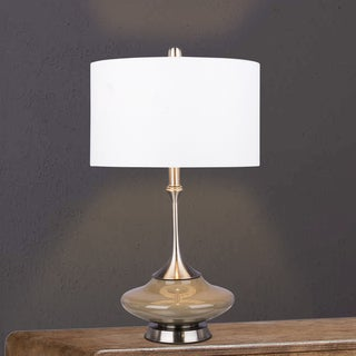 #5137GRY Retro 26.5 inch Grey Glass & Brushed Steel Metal Glass, Metal Table Lamp