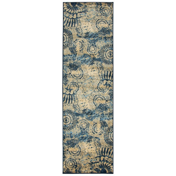 Bellevue Blue medallion Runner Area Rug (2'3 x 7'7)