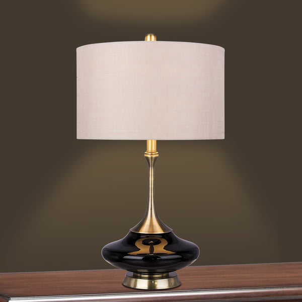 Retro 26.5-inch Black Glass & Antique Brass Metal Glass, Metal Table Lamp