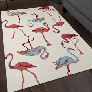San Mateo White Flamingo Indoor/ Outdoor Multipurpose Rug (5' x 7'6)