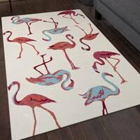 San Mateo White Flamingo Indoor/ Outdoor Multipurpose Rug - 5' x 7'6
