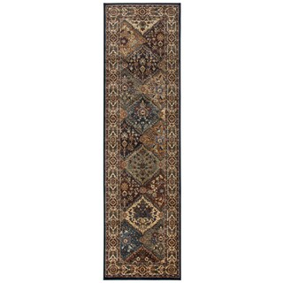 Bellevue khaki border Runner Area Rug (2'3 x 7'7)