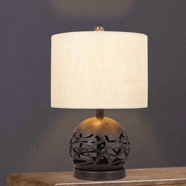 #1544 19.5 inch Brown Rustic Cage Cut Metal Table Lamp