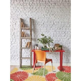 Multipurpose Indoor/Outdoor San Mateo White Citrus Rug (5' x 7'6)