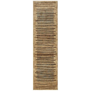 Bellevue beige abstract Runner Area Rug (2'3 x 7'7)