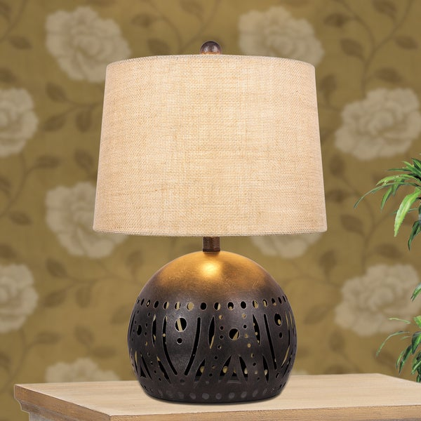 Shop 21 Inch Brown Rustic Cut Metal Table Lamp With A Base